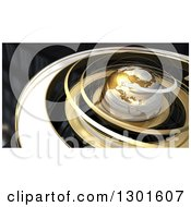 Clipart Of A 3d Earth In Gold Orbit Spirals Over Black Royalty Free Illustration