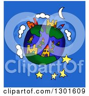 Clipart Of A Cartoon Earth Childs Sketch Over Blue Royalty Free Illustration