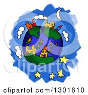 Clipart Of A Cartoon Earth Childs Sketch Over Blue And White Royalty Free Illustration