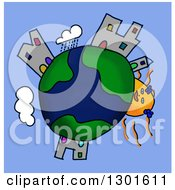 Cartoon Earth Childs Sketch With A Sun And Buildings Over Blue