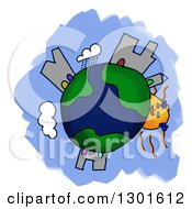 Clipart Of A Cartoon Earth Childs Sketch With A Sun And Buildings Over Blue And White Royalty Free Illustration
