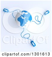Clipart Of A 3d Blue And White Globe Wired To Computer Mice Royalty Free Illustration