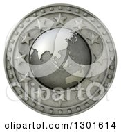 Clipart Of A 3d Metal Asian Continent Globe Shield With Stars On White Royalty Free Illustration