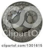 Clipart Of A 3d Metal Atlantic Globe Shield With Stars On White Royalty Free Illustration