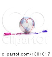 Clipart Of A 3d Pastel Blue And White Earth Globe With Computer Mice At Opposite Ends Meeting With Cables And Forming A Heart On White Royalty Free Illustration