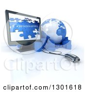 Poster, Art Print Of 3d Blue And White Globe Earth With Packages A Computer Mouse And Screen With A Community Puzzle Over White