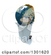 Clipart Of A 3d Earth In A Trash Can On White Royalty Free Illustration
