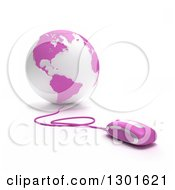 Clipart Of A 3d Pink And White Globe Wired To Computer Mice Royalty Free Illustration