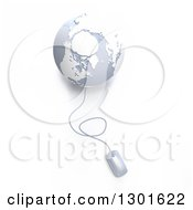 Clipart Of A 3d Gray And White Globe Wired To A Computer Mouse Royalty Free Illustration