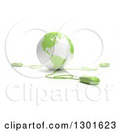 Clipart Of A 3d Green And White Globe Wired To Computer Mice Royalty Free Illustration
