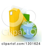 Clipart Of A 3d Atlantic Planet Earth Globe Leaning Against A Binder Organiser On White Royalty Free Illustration