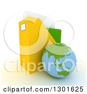 Clipart Of A 3d Asian Planet Earth Globe Leaning Against A Binder Organiser On White Royalty Free Illustration
