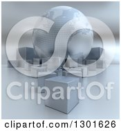 Clipart Of A 3d Silver Earth Globe With Cube Boxes Royalty Free Illustration by Frank Boston