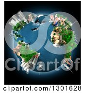 Clipart Of A 3d Ecology Oriented Planet Earth With Animals And Continents Over Black Royalty Free Illustration