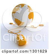 Clipart Of A 3d Yellow And White Globe Wired To Computer Mice Royalty Free Illustration
