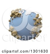 Clipart Of A 3d Blue Earth Globe With Cardboard Shipping Boxes On The Continents Over White Royalty Free Illustration