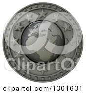 Clipart Of A 3d Metal Europe Continent Globe Shield With Stars On White Royalty Free Illustration