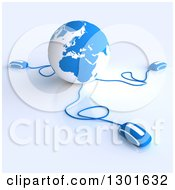 Clipart Of A 3d Blue And White Globe Wired To Computer Mice 2 Royalty Free Illustration