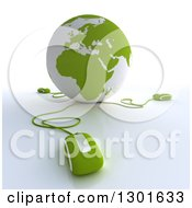 Clipart Of A 3d Green And White Globe Wired To Computer Mice 2 Royalty Free Illustration