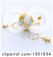 Clipart Of A 3d Yellow And White Globe Wired To Computer Mice 3 Royalty Free Illustration