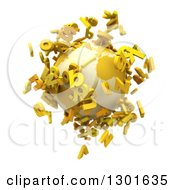 Clipart Of A 3d Planet Earth With Yellow Flying Alphabet Letters On White Royalty Free Illustration
