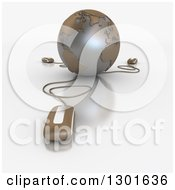 Clipart Of A 3d Brown Grid Globe Wired To Computer Mice Royalty Free Illustration
