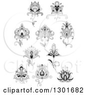 Clipart Of Black And White Henna And Lotus Flowers 7 Royalty Free Vector Illustration