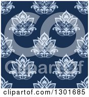 Clipart Of A Seamless Pattern Background Of Blue Lotus Henna Flowers Royalty Free Vector Illustration