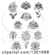 Clipart Of Black And White Henna And Lotus Flowers 6 Royalty Free Vector Illustration