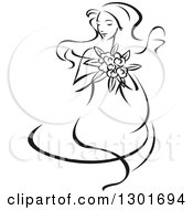 Clipart Of A Sketched Black And White Bride Holding A Bouquet 5 Royalty Free Vector Illustration
