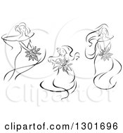 Clipart Of Sketched Black And White Brides Holding Bouquets Royalty Free Vector Illustration