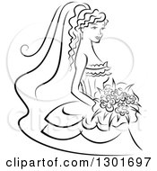 Clipart Of A Sketched Black And White Bride Holding A Bouquet Royalty Free Vector Illustration