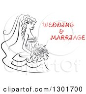 Clipart Of A Sketched Black And White Bride Holding A Bouquet Of Flowers With Red Text 8 Royalty Free Vector Illustration