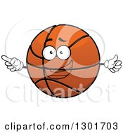 Clipart Of A Cartoon Happy Basketball Character Giving A Thumb Up And Pointing Royalty Free Vector Illustration