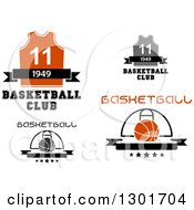 Clipart Of Blank Banners With Basketballs Jerseys And Text Royalty Free Vector Illustration