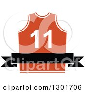 Clipart Of A Blank Black Banner Over An Orange Basketball Jersey Royalty Free Vector Illustration