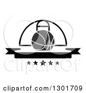 Clipart Of A Blank Black Banner With A Basketball And Hoop Royalty Free Vector Illustration