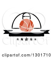 Clipart Of A Blank Black Banner With An Orange Basketball And Hoop Royalty Free Vector Illustration