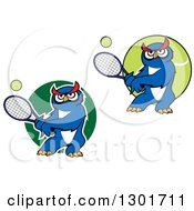Clipart Of Cartoon Blue Owls Playing Tennis Royalty Free Vector Illustration