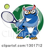 Clipart Of A Cartoon Blue Owl Playing Tennis Over A Green Circle Royalty Free Vector Illustration