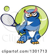 Clipart Of A Cartoon Blue Owl Playing Tennis Over A Ball Royalty Free Vector Illustration