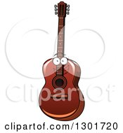 Clipart Of A Cartoon Acoustic Guitar Character Royalty Free Vector Illustration by Vector Tradition SM