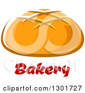 Clipart Of A Round Bread Over Text Royalty Free Vector Illustration