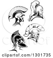 Clipart Of Black And White Roman And Spartan Soldiers With Helmets Royalty Free Vector Illustration by Vector Tradition SM