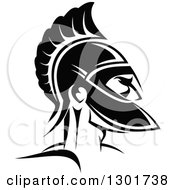 Clipart Of A Black And White Angry Spartan Warrior In A Helmet 3 Royalty Free Vector Illustration