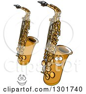 Clipart Of A Cartoon Happy Face And Saxophone Instruments Royalty Free Vector Illustration