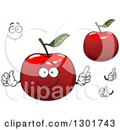 Clipart Of A Cartoon Face Hands And Red Apples Royalty Free Vector Illustration
