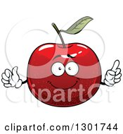 Clipart Of A Cartoon Red Apple Character Holding Up A Finger And A Thumb Royalty Free Vector Illustration