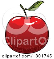 Clipart Of A Cartoon Shiny Red Apple Royalty Free Vector Illustration