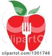 Clipart Of A Red Apple And Silhouetted Fork Vegetarian Food Design Royalty Free Vector Illustration